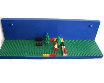 BUILDING BLOCK SHELF - Display Shelf, Wall Shelf, with Base Plates to Display Kids' Building Block Creations
