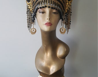 Cleopatra Headpiece, Cleopatra Headdress, Egyptian Headpiece, Egyptian Headdress, Egyptian Costume, Nefertiti Crown, Burning Man, Halloween