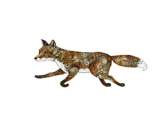 Fox Print Running Fox Pen and Ink  illustration 8x11