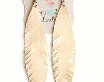 Large Gold feather earrings, leather earrings, Feather earrings, matte gold earrings