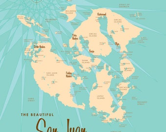 San Juan Islands, WA Map - Canvas Print