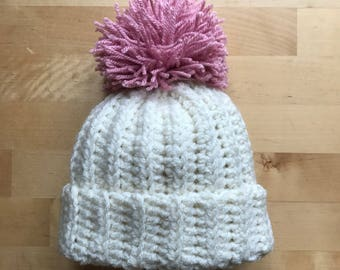 Baby Pom Pom hat, chunky baby beanie, crochet baby hat, new baby gift, made to order new born baby pom pom beanie, baby shower gift