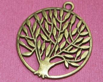 4 pcs of Antique Brass Tree of life pendant 42x37mm