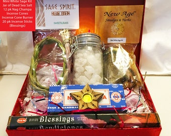 Incense Gift Box Ready to ship! w/ Sweetgrass, Sage & Incense -Mothers Day Gift for witches! -Altar Kits,mothers day gift boxes, home scents