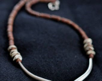 Brown raw jade beads and silver elephant-tusk pieces necklace (N0019)