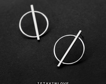 Sterling Silver Geometry Earring | Geometry Jewelry I Personalized Gift