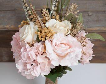 Blush Pink Bouquet, Small Bridal Bouquet, Feather Bouquet, Rustic Bridal Bouquet, Silk Flower Bouquet, Pink Bouquet, Boho Bouquet