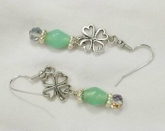 Silver Four Leaf Clover Charm Earrings, Green, Crystal