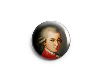 Mozart  - Mozart Button, Badge, Pin, Classical Music, Composer button, Mozart fridge magnet