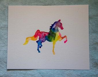 Watercolor Trotting Horse Paintings