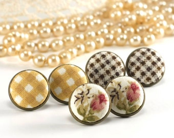 Stud Earrings - Monday, Tuesday, Thursday - Beige Pink Flowers Gingham - Romantic Fabric Buttons Jewelry - Set of 3 Pair of Antique Posts