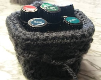 Essential oil holder crocheted bag  holds 6 bottles for purse or suitcase travel cushion case wallet
