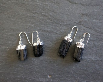Raw Tourmaline // Tourmaline Earrings // Silver Tourmaline //  Black Tourmaline // Raw Tourmaline Earrings