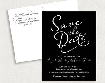 Calligraphy Save the Date Postcards, Black and White Save the Date Postcards, Modern Save the Date Magnet Postcards, Printable Save the Date