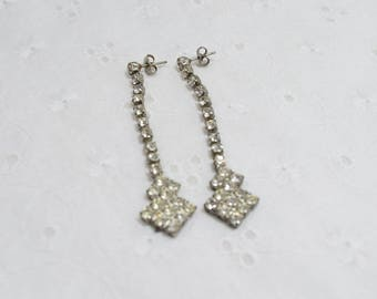Rhinestone Dangle Earrings / pierced earrings / unmarked vintage earrings / clear stones / 1-cent shipping / birthday / Formal / Bling