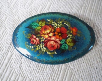 Vintage Jewelry Hand Painted Floral Brooch Signed Dated