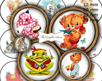 """80% Off Spring Sale 12 mm, 20mm, 25 mm, 30 mm, 1 inch Cute Animals Digital Images for Bottle Caps 1"""" Button Circles Digital Collage Sheet"""
