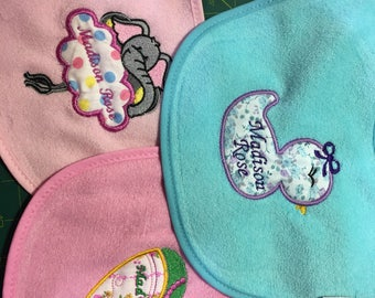 Baby bib embroidered with name