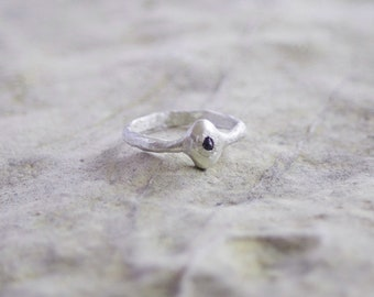 Tiny Diamond Ring / Rough Diamond Ring / Stacking Ring / Oxidised Ring / Dark Diamond Ring /