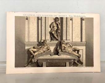 c. 1903 MICHELANGELO STATUE PRINT - original antique print - historic tombs - tomb of Lorenzo de Medici - San Lorenzo in Florence Italy