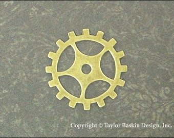 Steampunk Gears, Watch and Clock Pieces in Antiqued Polished Brass (item 3004-medium AG) - 12 Pieces