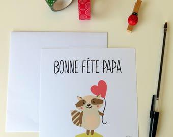Carte Bonne Fête Papa coeur rouge - Bonne fête des pères - raton laveur- pour dire Je t'aime - Coeur rouge - Pour papa - Fête des papas