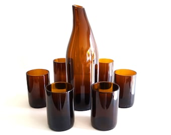 Handmade (upcycled) carafe and glasses