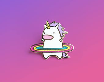 Hula Unicorn Pin, Lapel Pin, Gold Enamel Pin, Shiny Gold Metal, Kawaii Flair Pin, Best Selling, Enamel Pins, Unicorn, Fashion Accessory