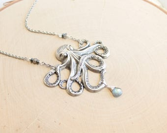Labradorite Octopus Statement Necklace in Antiqued Silver