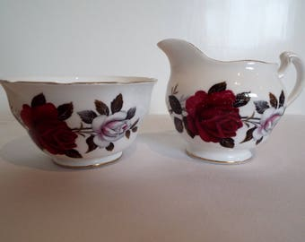 Vintage Milk Jug and Sugar Bowl With Red Roses, By Colclough China. Sugar Bowl and Creamer With Red and White Roses. Perfect For A Tea Party