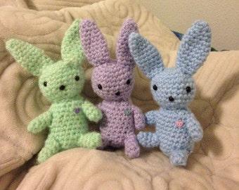 Amigurumi Love Buns Crochet Bunny Rabbit Plush with Heart Buttons; Stuffed Animal