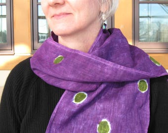 Hand Painted Linen Scarf, Linen Scarf, Hand Painted Scarf, Hand dyed Scarf