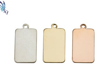 5Pcs-Rectangular Stamping Blank, Sterling Silver, Gold Filled, and Rose Gold Filled, Jewelry Making Supplies, Rectangle Blanks, ST01QR