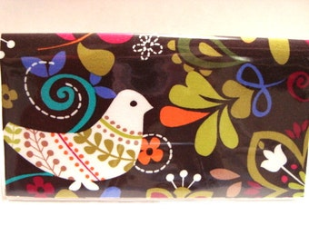 Checkbook Cover , Holder -Birds of Norway