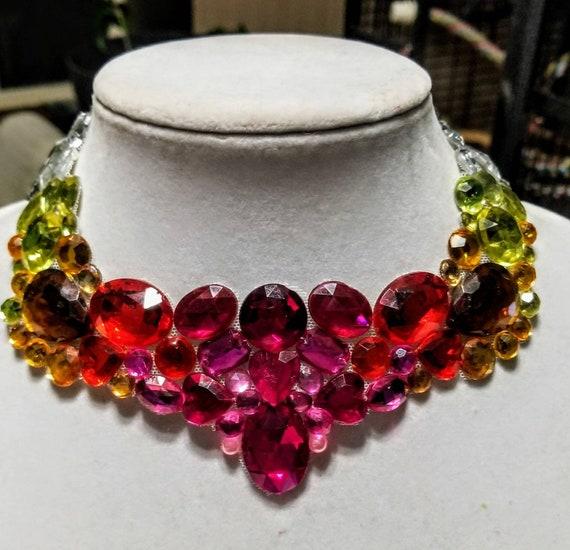 Sunset - rhinestone bling necklace, illusion necklace, rhinestone bib, floating necklace, rhinestone statement necklace