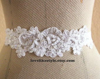 White Sequined and Pearl Beading Lace Sash, Bridal Sash, Bridal headband, Bridesmaid Sash / SH-40