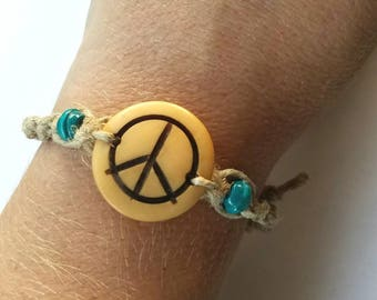 peace bracelet, peace jewelry, peace gift, hippie bracelet, macrame bracelet, hippie gifts for women, teen girl gifts, peace sign, surfer