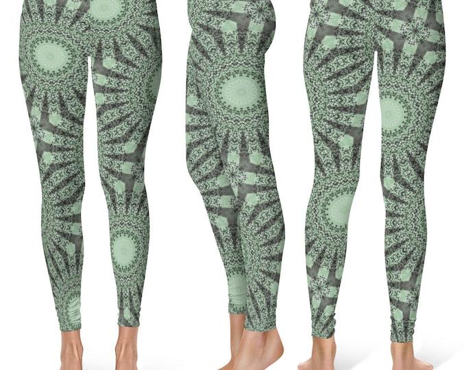 Green Leggings Yoga Pants, Nature Inspired Printed Yoga Tights for Women, Festival Clothing, Burning Man
