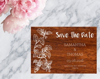 Wood Look Printable Wedding Invitation Save The Date - Print at home save the date