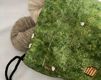 Knitting Project Bag Large Drawstring Bag Sheep Bag No Snag Drawstring Bag for Knitting Projects Crochet Project Bag Large Free Shipping