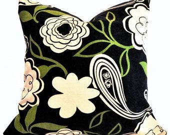 Black & Green Modern Vine Floral Design Decorative Pillow Cover, Accent Pillow, Throw Pillow, Pillowcase