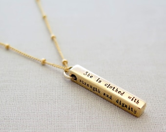 I can do all things necklace christian jewelry religious christian jewelry strength and dignity necklace bible verse necklace proverbs 31 25 aloadofball Images