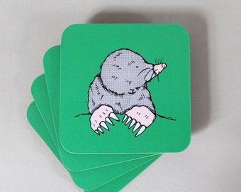Mole Coaster Set - animal coasters - drink coasters - green coasters -  coaster set -new home gift - gardener gift -mole - charity gift -