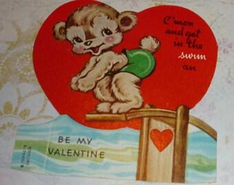 Cute Bear Taking a Dive Vintage A-meri-card Valentine