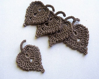 5 Crochet Leaf Appliques -- Chocolate Brown Birch Leaves