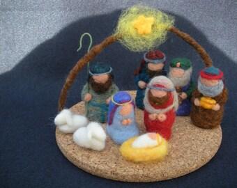 Christmas Nativity Scene needle-felted with wool