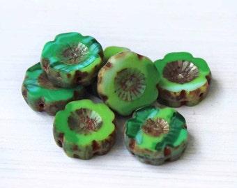6 Czech Glass Beads 14mm Hawaiian Pansy Flower Shades of Green Tones - CB031