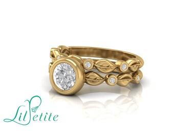 Leaves engagement ring, Leaf wedding ring, Bridal set, Alternative bridal set, Engagement ring for nature lover