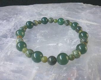 Jade and Serpentine 6mm Gemstone Bracelet. Wisdom, Balance, and Peace. Love and Money