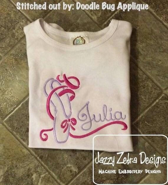 Ballet Shoe 1 Satin Stitch Outline Embroidery Design - ballet embroidery design - ballerina embroidery design